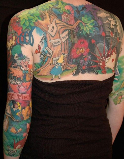 Alice in Wonderland in one tattoo