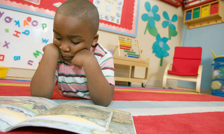African American child studying