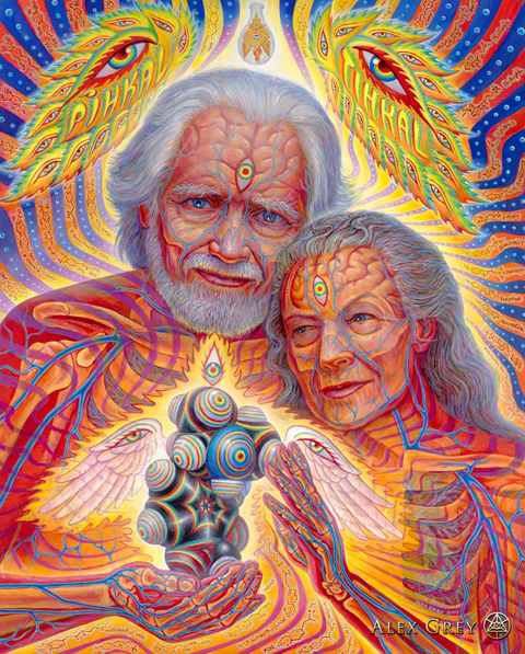 "Alexander ""Sasha"" Shulgin and Ann Shulgin by Alex Grey"