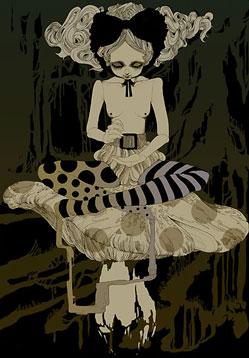 woman sitting on mushroom